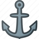anchor, hook, navy, see, ship icon