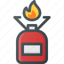 camp, camping, cooker, fire, gas, tank