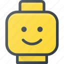 figure, head, lego, smile, toy icon