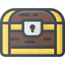 box, chest, pirate, treasure, value icon