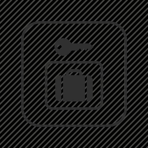 baggage, key, left baggage, left luggage, lock, luggage, travel icon