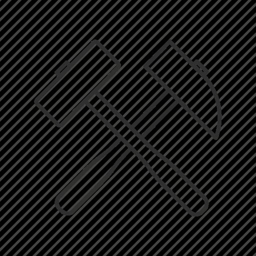 chisel, cross tools, emoji, hammer and pick, mining, pick, tools icon