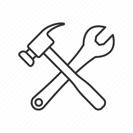 construct, hammer, hammer and wrench, machine, mechanical, tools, wrench icon