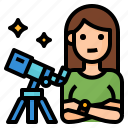 astronomer, avatar, observer, occupation icon