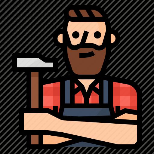 avatar, carpenter, craft, occupation icon