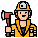 avatar, firefighter, fireman, occupation icon