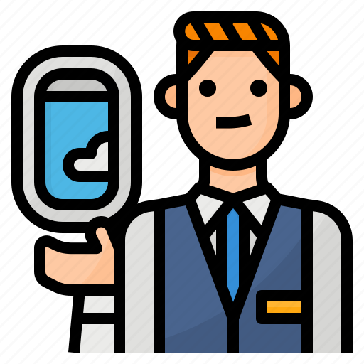 attendant, avatar, flight, occupation icon