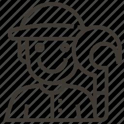 avatar, farmer, man, occupation, sickle icon