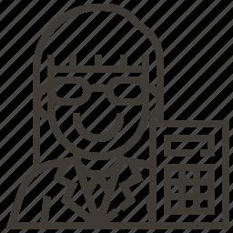 accountant, avatar, calculator, occupation, woman icon