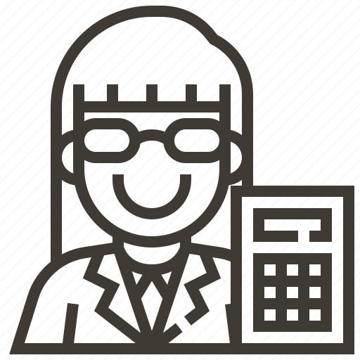 Accountant, woman, avatar, calculator, occupation icon