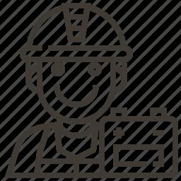 avatar, battery, construction, man, mechanic, occupation icon