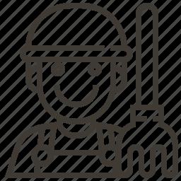 avatar, farmer, man, occupation, pitch fork, rake icon