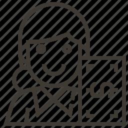 avatar, banker, money, occupation, teller, woman icon