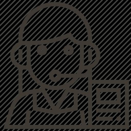 avatar, dispatcher, document, occupation, woman icon