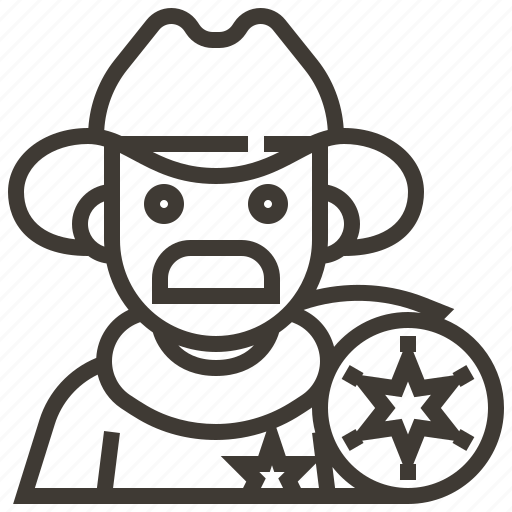 avatar, badge, man, occupation, sherrif, star icon