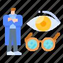 doctor, eye, glasses, optometrist, vision icon