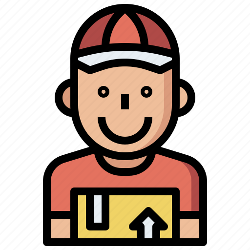box, commerce, courier, delivery, man, package, people, shipping, user icon