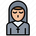 avatar, catholic, christian, cultures, job, nun, occupation, people, profession, religious, woman icon