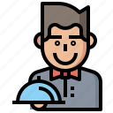 bartender, food, glasses, job, profession, restaurant, waiter, waiters, waitress, worker icon