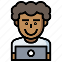 avatar, computer, employee, laptop, occupation, people, seo, web, worker icon