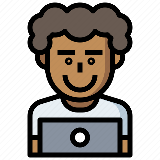 Avatar, computer, employee, laptop, occupation, people, seo icon - Download on Iconfinder
