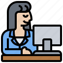 company, employee, female, office, worker icon