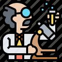 chemist, experiment, man, researcher, scientist icon