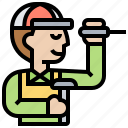 inspector, maintenance, repairman, service, technician icon