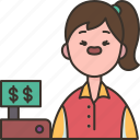 cashier, payment, seller, counter, store