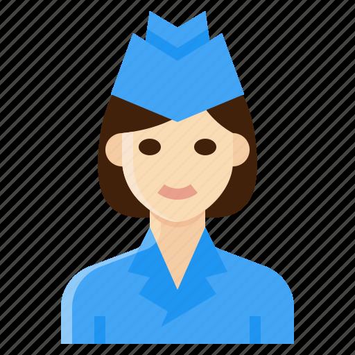 air, attendant, flight, hostess, occupation icon