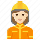 female, firefighter, fireman, occupation, woman icon