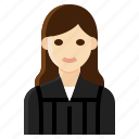 female, judge, lawyer, occupation, woman icon