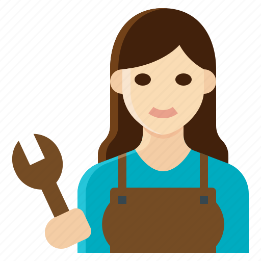 female, mechanic, occupation, woman, worker icon