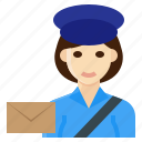 delivery, female, occupation, postman, woman icon