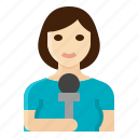female, news, occupation, reporter, woman icon