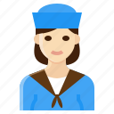 female, navy, occupation, sailor, woman icon