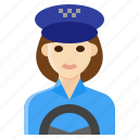 driver, female, occupation, taxi, woman icon