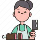 butcher, meat, shop, chef, cooking