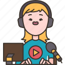 streamer, gamer, reporter, broadcast, player icon