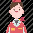hostess, airline, crew, attendant, service icon