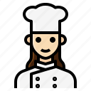 chef, cook, female, occupation, woman icon