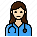 doctor, female, healthcare, occupation, woman icon
