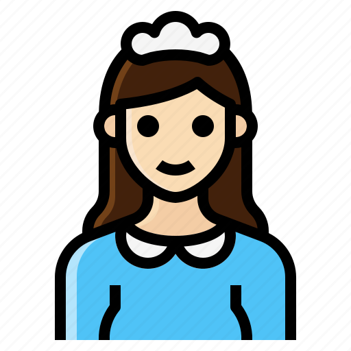 cleaner, female, maid, occupation, woman icon