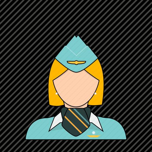 air, airlines, flight, occupation, plane, profession, stewardess icon