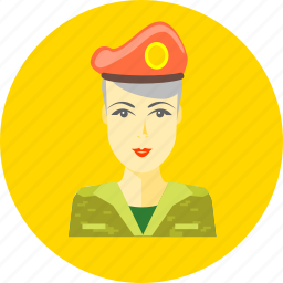 female, lady, military, person, profile, soldier, woman icon
