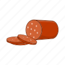 cartoon, food, ingredient, meat, salami, sausage, sign icon