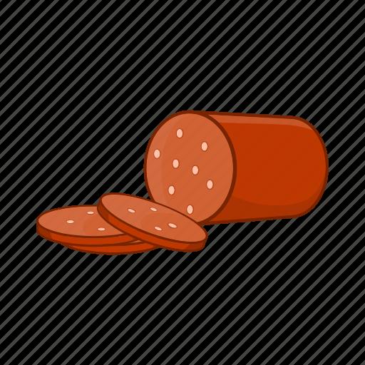 cartoon, food, ingredient, meat, salami, sausage, sign icon