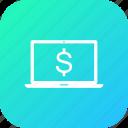 discount, dollar, laptop, money, offer, sale icon