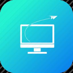 desktop, discount, goal, monitor, offer, rocket, sale icon