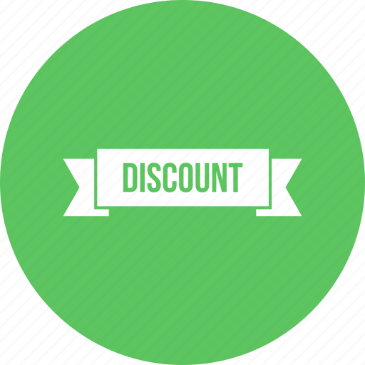 discount, free, less, offer, ribbon icon